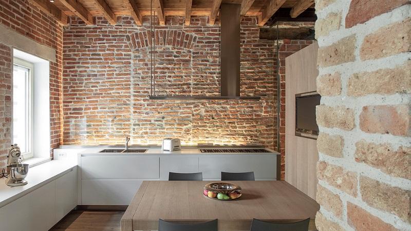 Все о декоративной плитке под кирпич для кухни
