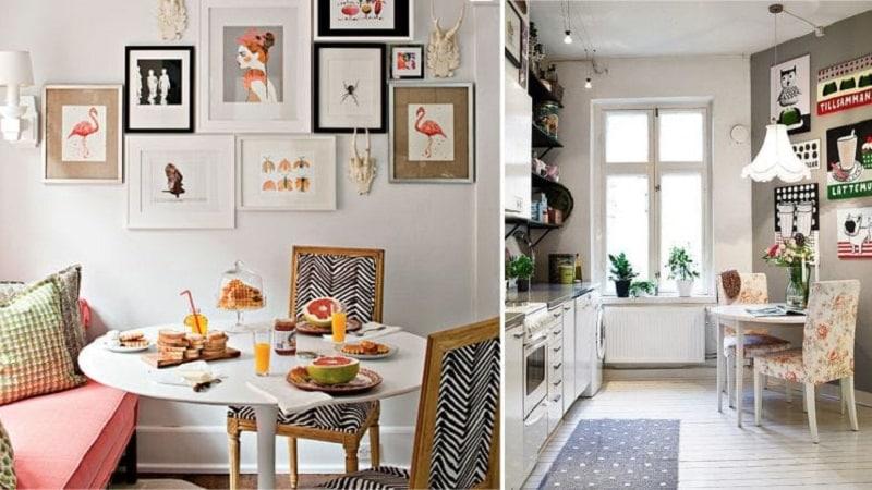 Как грамотно повесить картины на кухню