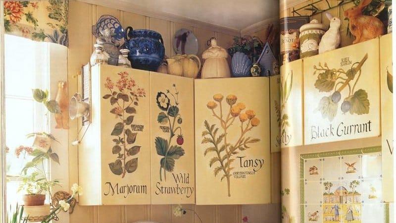 Варианты декупажа кухонного гарнитура своими руками