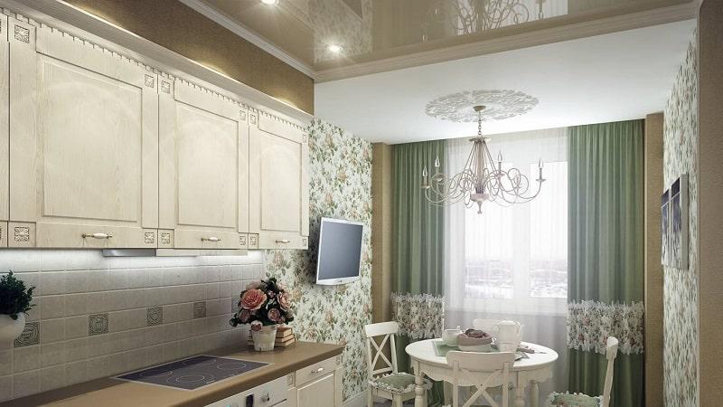 Обои в стиле прованс в интерьере кухни