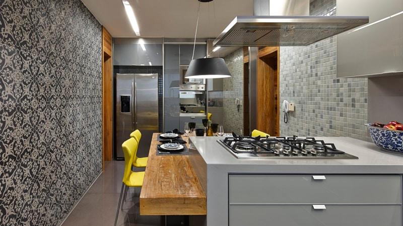 Все о серых обоях на кухне