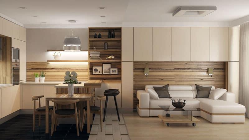 Дизайн интерьера большой кухни