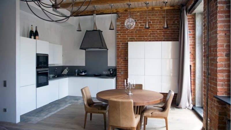 Кухня-гостиная в стиле лофт в квартире