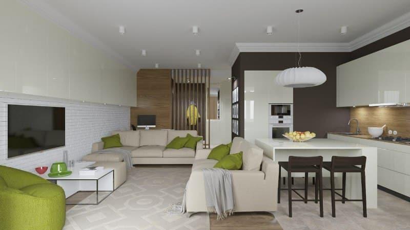 Интерьер в гостиной студии, совмещенной с кухней