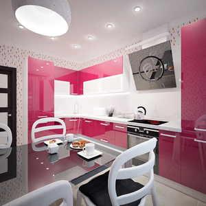 Розовая кухня в интерьере квартиры