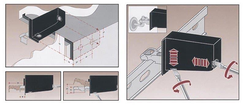 Варианты крепления навесных шкафов для кухни