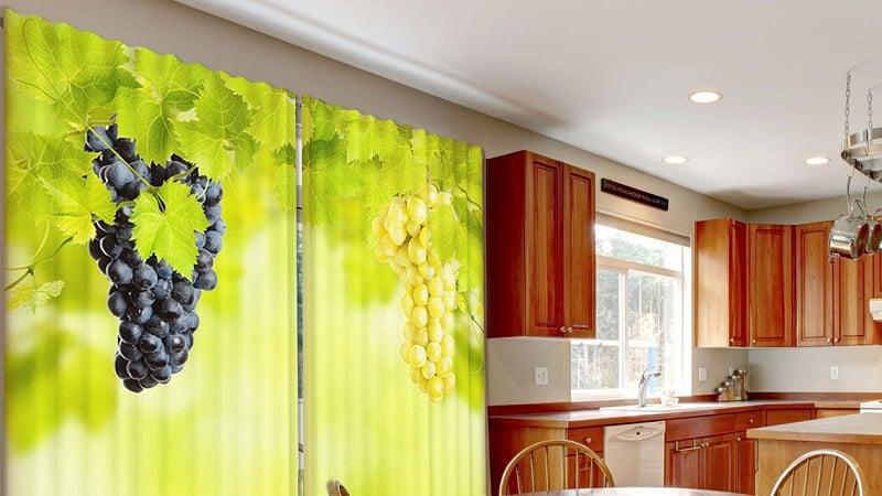Красивые фотошторы на кухню: рулонные и классические