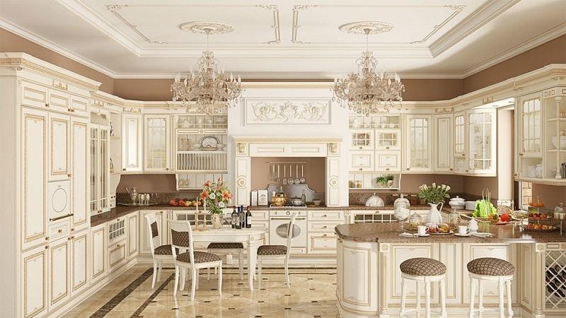 Кухни классика светлые с патиной