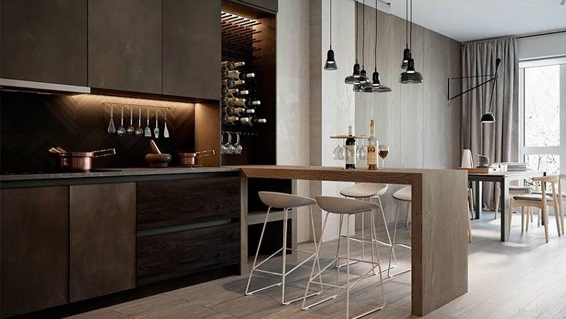 Дизайн, размеры и уместность барной стойки на кухне