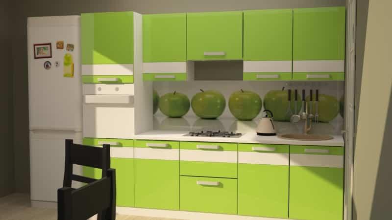 Зеленая кухня в интерьере квартиры
