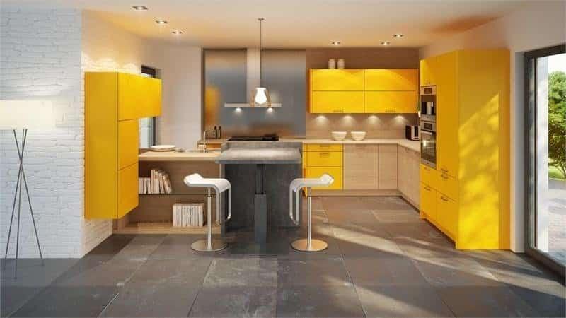 Желтая кухня и цветовые акценты