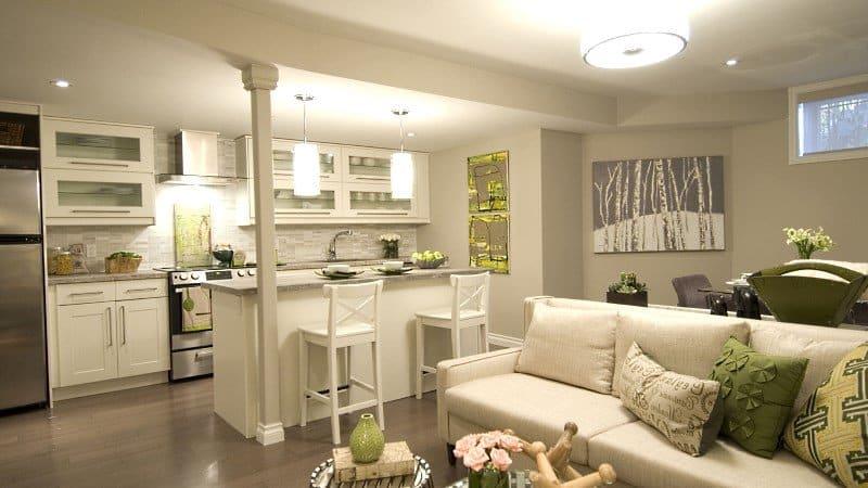 Грамотное зонирование кухни и гостиной
