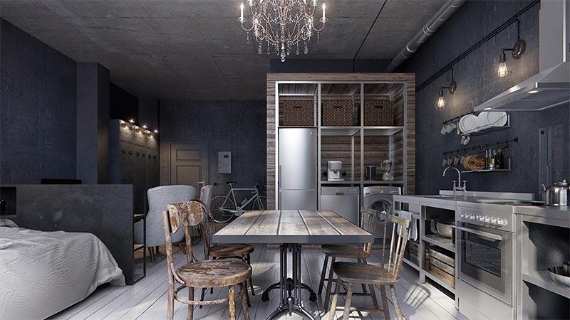 Кухни в студиях на 20 кв м: дизайн и планировка