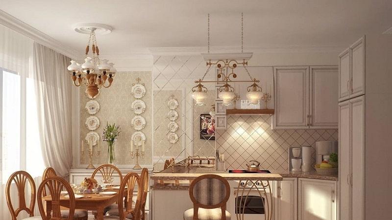 Люстры в стиле прованс в интерьере кухни