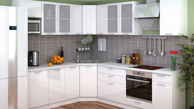 Глянцевые угловые кухни с белыми фасадами – подбираем под стиль интерьера