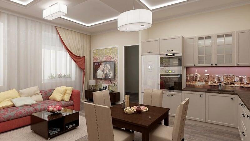 Планировка кухни-гостиной 19 кв м