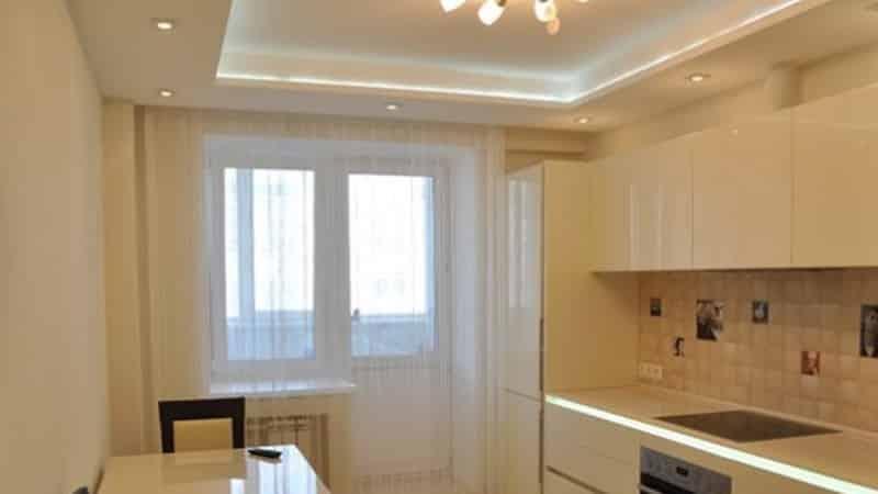 Все об освещении кухни с натяжным потолком
