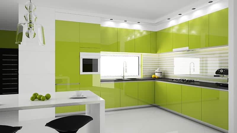 Салатовый цвет и его тона на кухне