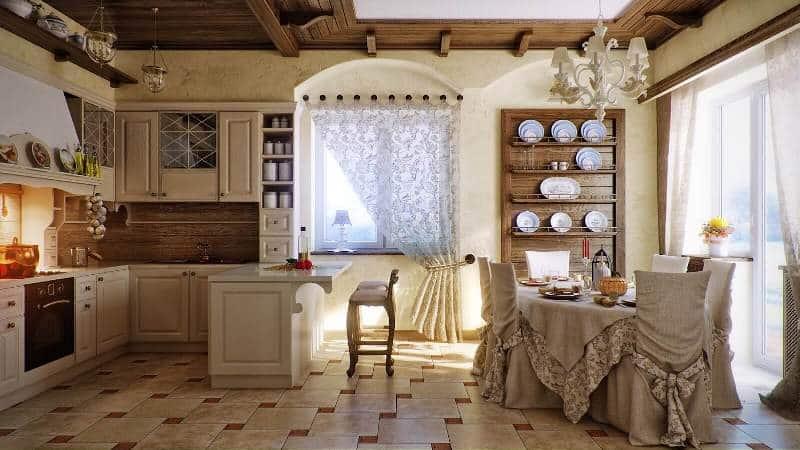 Все о шторах на кухню в стиле прованс и кантри