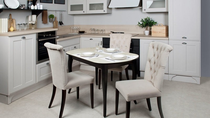 Белые кухонные столы: обеденные, глянцевые и раздвижные