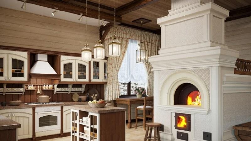 О кухне с печкой в частном доме: дизайн