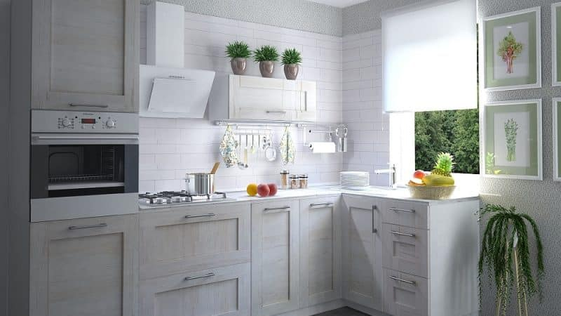 Светлый кухонный гарнитур фрейм