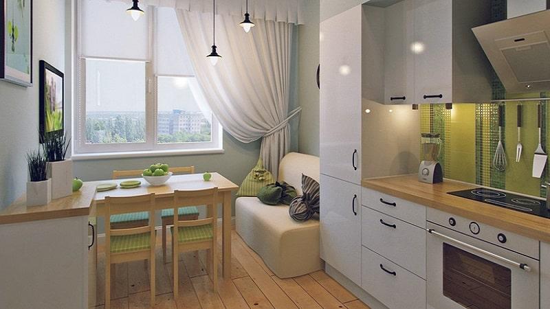 Дизайн и планировка кухни прямоугольной формы