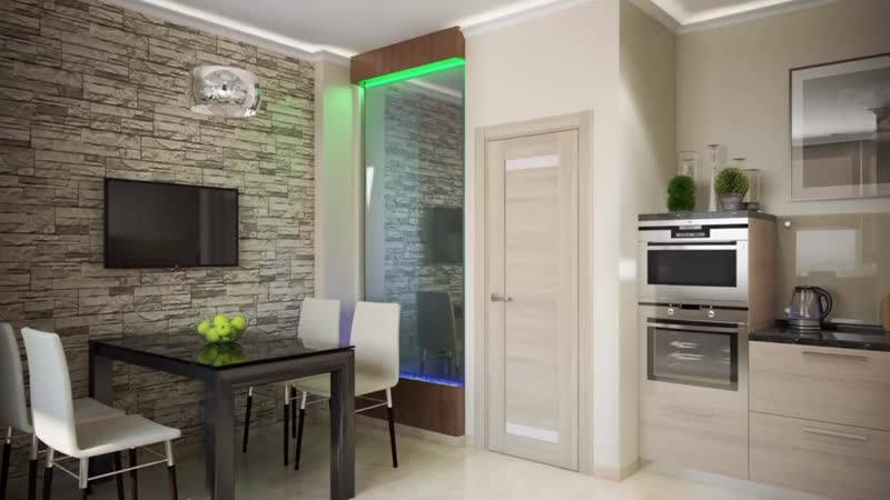 Интерьер угловой кухни с телевизором на стене - варианты размещения