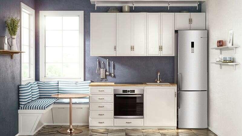 Угловые маленькие кухни с холодильником