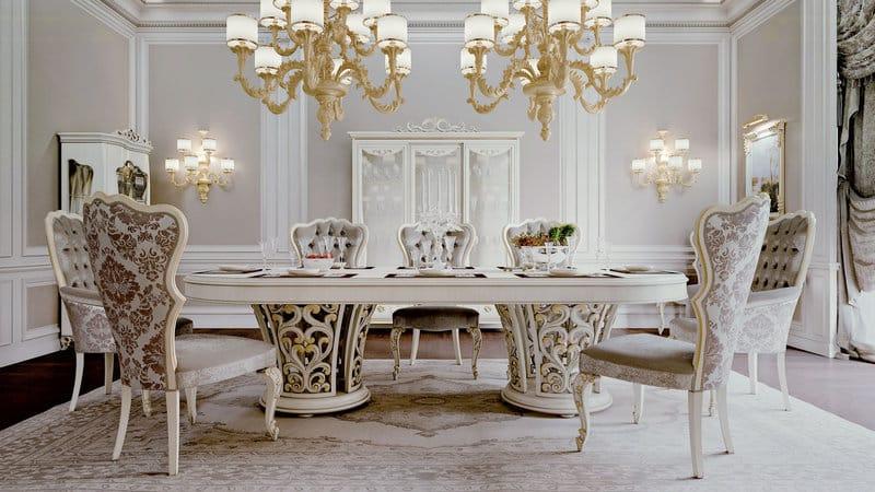 Итальянский кухонный обеденный стол и стулья к нему