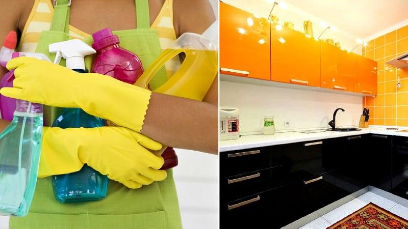 Чем можно помыть и почистить глянцевую поверхность кухонного гарнитура