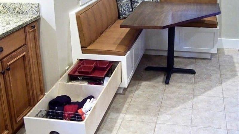 Кухонные уголки с ящиком для хранения: практичность и интересный дизайн