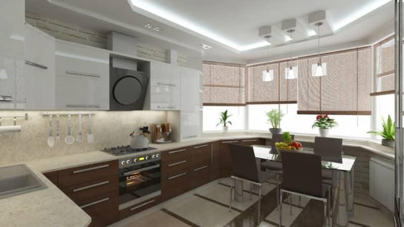Дизайн кухни в домах п44т с эркером