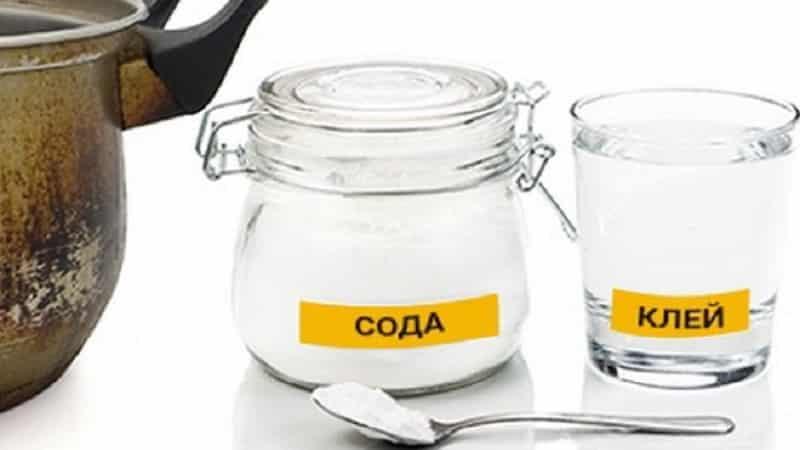 Как очистить посуду с помощью соды и канцелярского клея