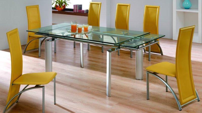 Раздвижные столы для кухни из стекла