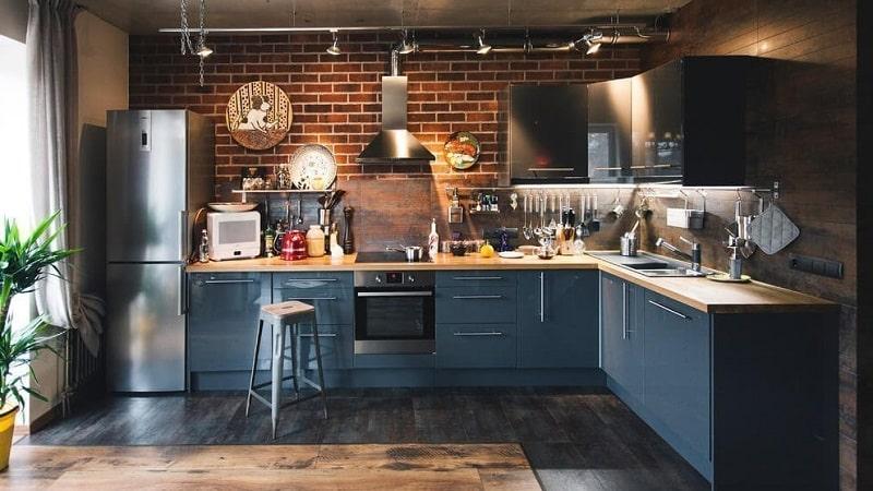 Всё о кухонном гарнитуре в стиле лофт: мебель своими руками