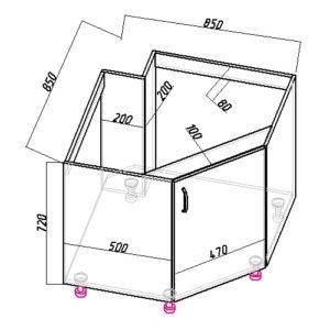 Угловой кухонный напольный шкаф под мойку