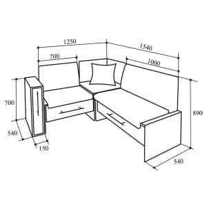 Об угловом кухонном диване домино: размеры, схема сборки