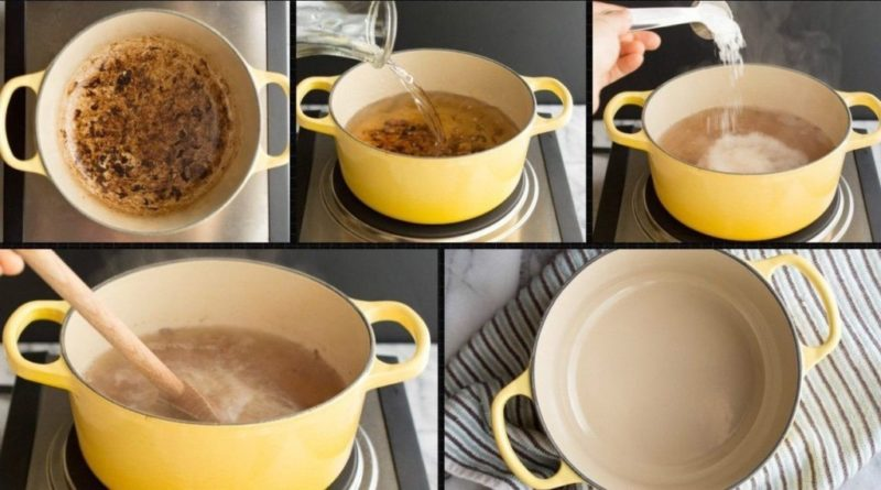 Как очень быстро очистить пригоревшую эмалированную кастрюлю