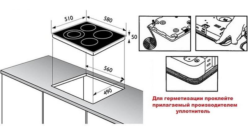Уплотнительная лента для монтажа варочной панели